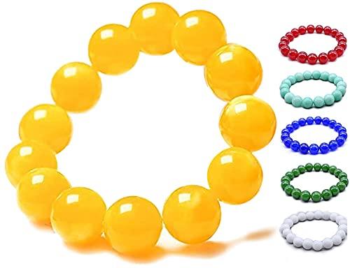 6 colores - Pulsera de limpieza corporal de jaspe amarillo, cuentas antifatiga para piedra curativa de cristal curativo Reiki, pulseras espirituales de meditación de yoga
