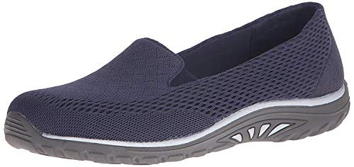 Skechers Women's Reggae Fest Willows Flat,9.5 M US,Navy Mesh