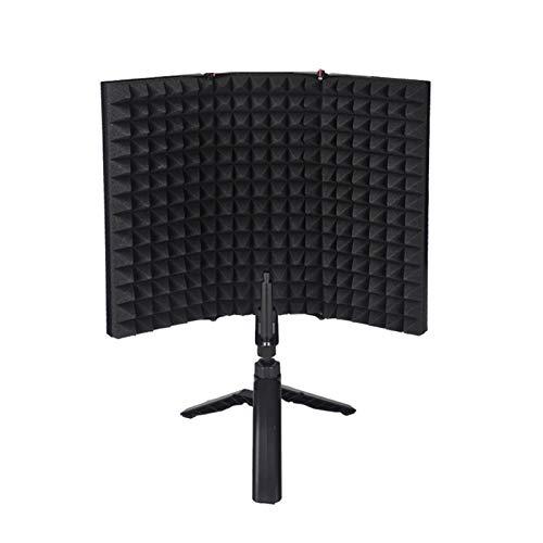 Konesky Escudo de Sonido Profesional, Plegable Micrófono Acústico Escudo de Espuma Insonorización Cubo Filtro Aislamiento para la Grabación Sonido Estudio, Podcasts, Voces, Canto, Radiodifusión