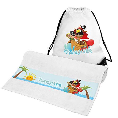 Eurofoto Handtuch + Turnbeutel Set mit Namen Franziska und Tier-Piraten-Motiv für Mädchen | Handtuch und Turnbeutel Bedruckt |