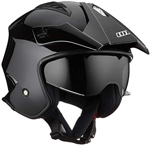 UNIK Ct-07 Trial Helmet with Solar Glasses, Colour-Black, Size-Small Casco, Hombre, Negro