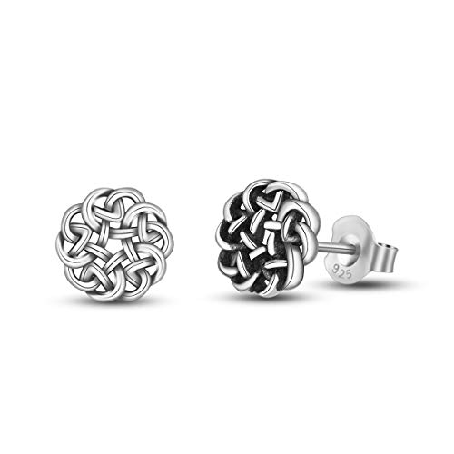 INFUSEU Small Irish Celtic Eternity Flower Knot Stud Earrings 925 Sterling Silver for Women Girls Tiny Jewelry