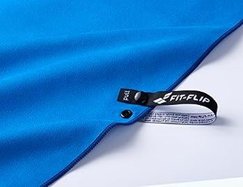 Fit-Flip Serviette Microfibre ? Disponibles dans Toutes Les Tailles / 18 Couleurs ? compacte & Ultra-légère ? la Serviette de Sport et Serviette Voyage Parfaite (80x180cm Bleu - Bordure Bleu foncé)