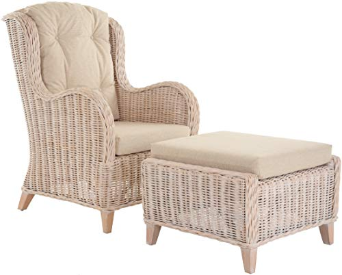 Krines Home Exklusiver Lesesessel Birmingham bequem Rattansessel Rattanmöbel Set Sessel aus Rattan Ohrensessel mit Hocker Vintage Weiss