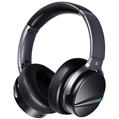 Active Noise Cancelling Headphones - SHIVR 3D Bluetooth Headphones w/Immersive Audio, Wireless Over Ear Headphones w/Microphone, Built-in Gyroscope Smart Play/Pause, Ambient Sound Mode 20H Playtime