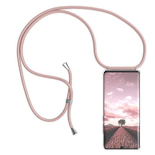 EAZY CASE Handykette kompatibel mit Huawei P30 Pro Handyhülle mit Umhängeband, Handykordel mit Schutzhülle, Silikonhülle, Hülle mit Band, Stylische Kette mit Hülle für Smartphone, Rosé-Gold