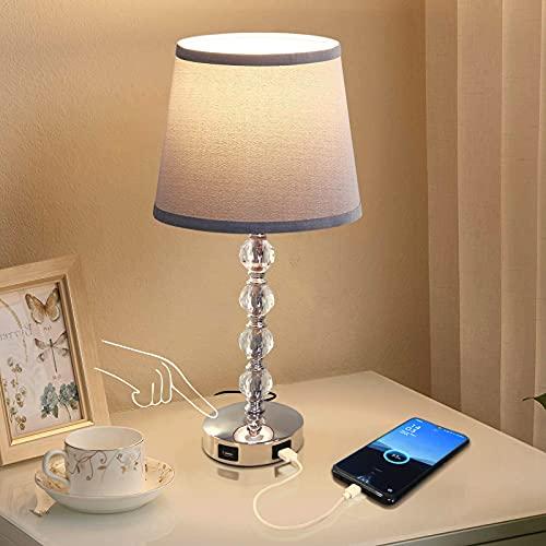 Lámpara de dormitorio de cristal táctil regulable de 3 vías con 2 puertos de carga USB, mesita de noche K9 lámpara de cristal para...