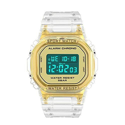SXXYTCWL Calendario del Reloj Impermeable Coreana versión Multifuncional Electronic Sports Manera del Reloj de los nuevos Hombres del Reloj electrónico jianyou (Color : Transparent Gold)