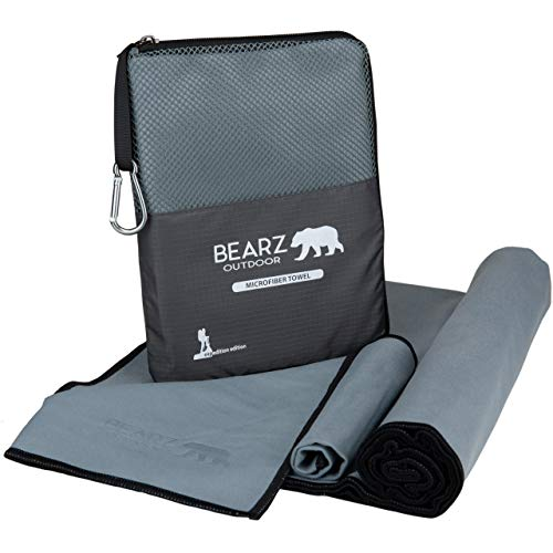 BEARZ Outdoor Quick Dry Towel Travel Towel, Ultra Compact Camping Towel, Camp Towel, Microfiber Travel Towel, Workout Towel, Microfiber Beach Towel, Microfiber Towels for Hiking Gym (Space Gray)