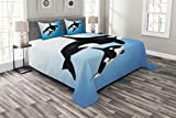 Lunarable Whale Bedspread, Orca Family Mother and Swimming in The Ocean Parenthood Theme, Decorative Quilted 3 Piece Coverlet Set with 2 Pillow Shams, King Size, White Black