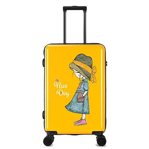 Travel Luggage Case Cartoon Printing Scratch-resistant Trolley Case Female Small Fresh College Student Suitcase 24 Inch Luggage Universal Cabin Luggage (Color : Yellow, Size : 24 inch)