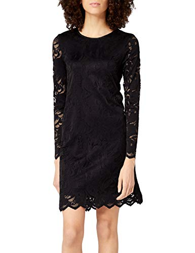 Vila Clothes Damen VISTASIA L/S LACE A-Shape Dress-NOOS Kleid, Schwarz (Black Black), 36 (Herstellergröße: S)