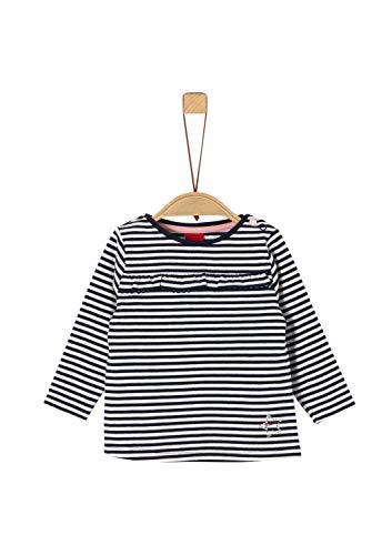 s.Oliver Baby-Mädchen 65.911.31.7709 Langarmshirt, Blau (Dark Blue Knitted Stripes 59g1), (Herstellergröße: 86)