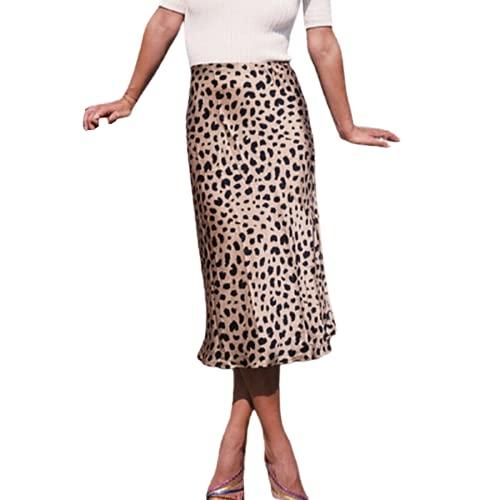 Qtinghua Falda de Cintura Alta con Estampado de Leopardo para Mujer Faldas Ajustadas de satén de Seda de Guepardo con Cintura elástica Midi Longitud