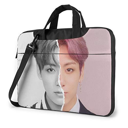 BTS Laptop Case,Fashion MacBook Shoulder Bag,Compatible Briefcase Sleeve with Removable Belt Versatile Canvas Notebook Sleeve with 2 Outer Pocket 13 Inch
