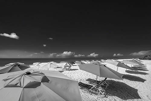 Exklusives Glasbild in Galerie Qualität. Bunte Sonnenschirme am Strand von Aruba in der Karibik. Schwarz-weiß Bild. Echtglasbild als Wandbild Wand Kunst Bild | Foto Fotografie | Wanddeko