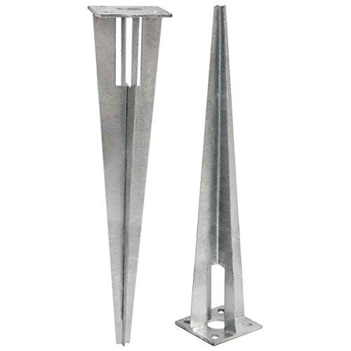 NIEDERBERG METALL Bodenhülse 50cm Einschlaghülse Einschlagbodenhülse für runde Ø 34mm Zaunpfosten Zaunpfähle Metall Hülse Pfostenträger Pfahlstütze feuerverzinkt Silber