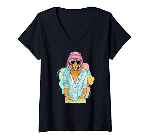 Mujer Tigre de Bengala Regalo Hombres Mujeres Nios Cool Tiger Camiseta Cuello V