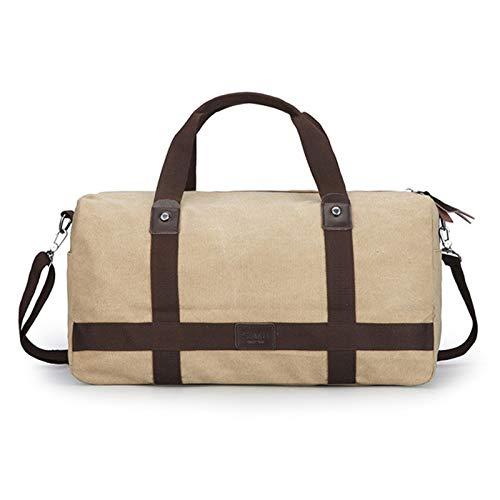Jklt Large-capacity Luggage Bag Large Capacity Men's One-shoulder Outdoor Diagonal Travel Bag Multifunctional Canvas Messenger Handbag (Color : Khaki, Size : 56x26x21cm)