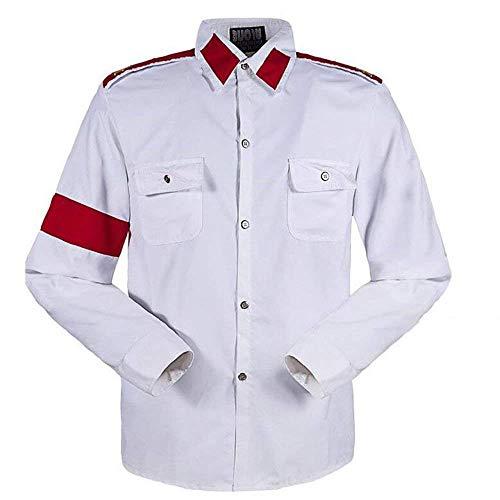Michael Jackson Herren Kinder Shirt MJ Professional Cosplay Michael Jackson Kostüm CTE Style Shirt für MJ Fans Weiß Schwarz ROT Farben Hemd (M, Weiß)
