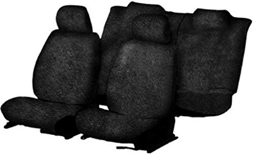 Look&Took Pure Cotton Fabric Heavy Towel Cum Seat Covers for Chevrolet Beat (Black/Set of 2 for Front Seat)