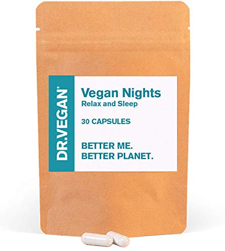 DR.VEGAN Vegan Nights | Relax & Sleep | 30 Capsules | One or Two a Night | Including 5-HTP 100mg, L-Glycine 250mg, Magnesium (Citrate) 145mg, L-Theanine 50mg, L-Tyrosine 30mg