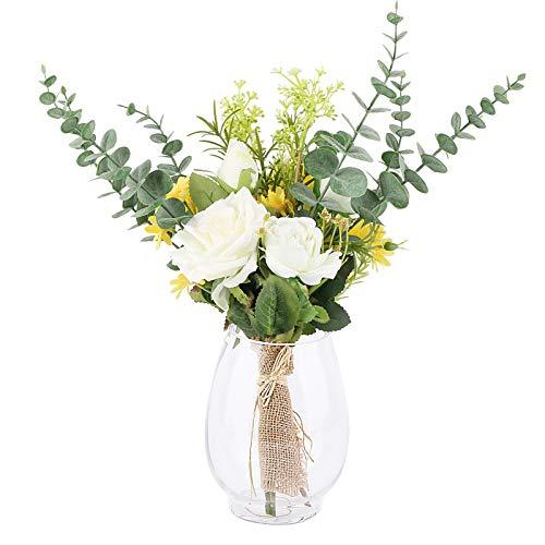 VINFUTUR Ramo de Flores Rosas Artificiales+Plantas Eucaliptos Falsas Hojas Decorativas Plástico Flores Artificiales para Decoración Jarrón Mesa Boda Fiesta Hogar Manualidad DIY