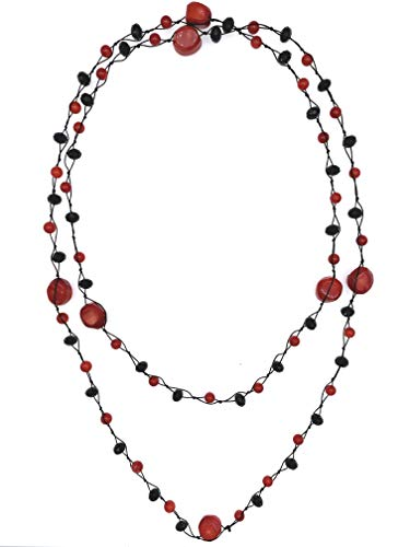 Red Coral Faceted Cut Black Crystals Knotted Long Necklace for Women Girls Mothers Gift 50'