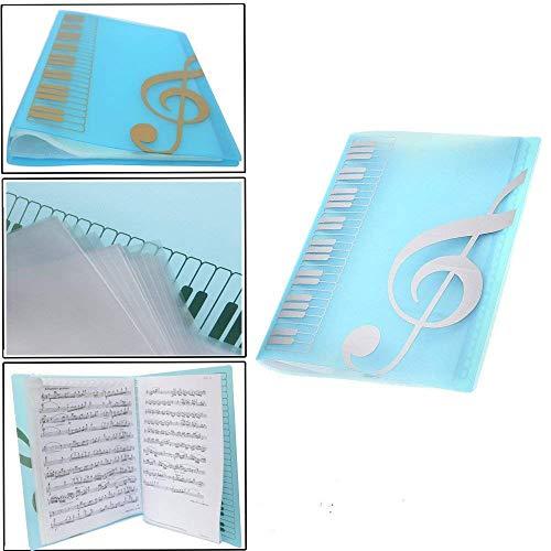 Wankd Notenmappe mit 40 Fächern, Notenmappe, Notenblatthalter, Schlüssel, Papieraufbewahrung für A4 Papier blau