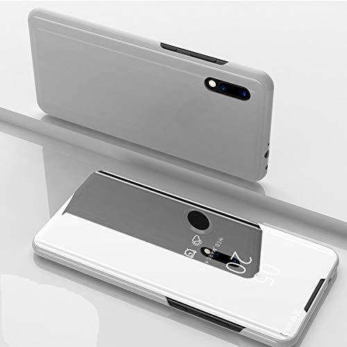 Nadoli Spiegel Hülle für Xiaomi Redmi 9A,Clear View Mirror Effect Pu Leder Hart PC Zurück Buchstil Standfunktion Flip Schutzhülle Brieftasche für Xiaomi Redmi 9A,Silber