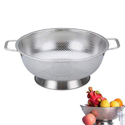 Chytaii - Cesta de vaciado para frutas (acero inoxidable, con asa para verduras, frutas, vaciado de verduras con cesta)