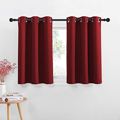 NICETOWN Blackout Small Kitchen Window Curtains - Pair of Thermal Insulated Eyelet Top Plain Blackout Curtains for Small Window (42 Width x 36 inches Length + 1.2 inches Header, Burgundy)