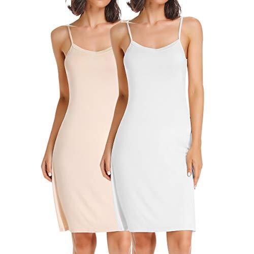 SLIMBELLE Damen 2er Pack Unterkleid mit Verstellbarer Spaghettiträger Full Slip Unterröcke Nachtkleid Negligee Sleepwear Nachtwäsche Weiß Beige für Cup A-C XL