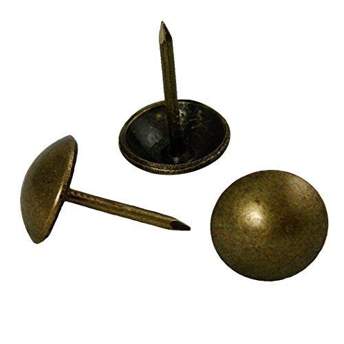 """decotacks 500 PCS Antique Brass Finish Upholstery Nails, Furniture Tacks, French Natural Thumb Tack Push Pin, 7/16"""" Head Dia [Antique Brass, French Natural] DX0511AB500"""