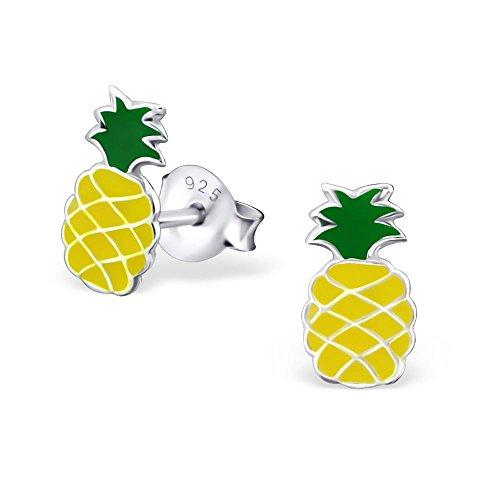 Bungsa Kinder-Ohrstecker Ananas .925 STERLING SILBER Pineapple bunt (Ohrringe Echtschmuck Studs Ohrschmuck Jungen Mädchen)