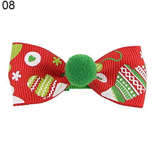 litty089 Meisjes Haar Clip, Stijlvolle Boom Handschoenen Sneeuwvlok Sneeuwman Patroon met Strik Vorm en Bal Haarspeld, Decor voor Uw Mooie Kind Kerstmis Gift