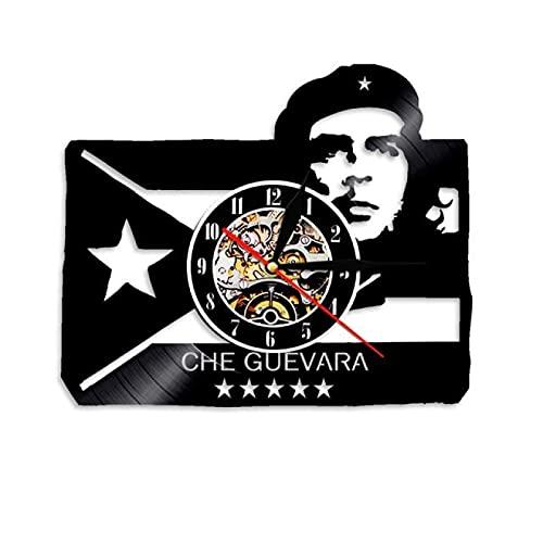 SHILLPS Revolucionario con la Bandera Cubana Reloj de Pared de Vinilo Hecho a Mano Dormitorio Decoración de la Pared del Cuarto de niños Los Mejores Regalos para Hombres Mujeres con LED
