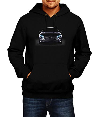 Sweatshirt Mercedes 4 Logo Hoodie Herren Men Car Auto Tee Black Grey Long Sleeves Present Christmas (2XL, Black)