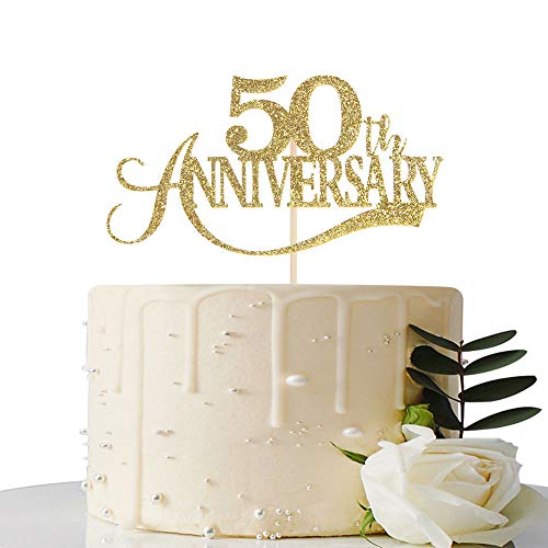 Gold Glitter 50th Anniversary Cake Topper - for 50th Wedding Anniversary / 50th Anniversary Party / 50th Birthday Party Decorations