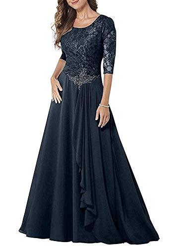 JAEDEN Abendkleider Lang Damen Hochzeitskleider Mutter der Braut Kleid Langarm Partykleider Chiffon Spitze Marineblau EUR40
