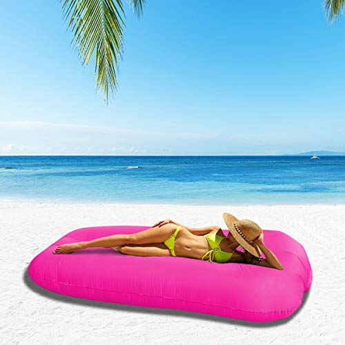 SUNSHINEMALL Inflatable Lounger Air Sofa Hammock - Portable Anti-Air Leaking & Waterproof Pouch Couch and Beach Chair Camping Accessories for Parties, Travel, Camping, Picnics,Large Size (Pink)