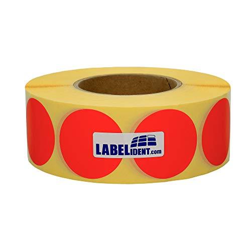 Labelident Markierungspunkte rot - Ø 50 mm - 1000 bunte Klebepunkte, 1 Rolle(n), 3 Zoll Rollenkern, Papier wieder ablösbar