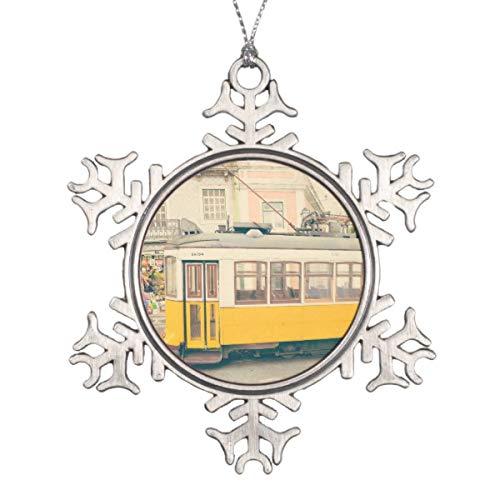 Yilooom Trolley In Lisbon Portugal Snowflake Hanging Decoration Ornament Special Keepsake Art Display - 3