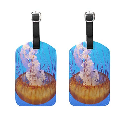 LINDATOP Jelly Fish Luggage Tags Bag Travel Labels for Baggage Suitcase 2PCS