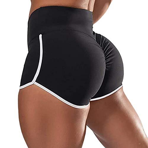 ORANDESIGNE Femme Short de Sport Casual Yoga Mode Plage Pantalon Court Hot Pants Fitness Jogging Élastique Doux Respirant Shorts de Yoga Taille Haute A Noir Small