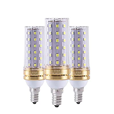 Ruixue Corn E12 LED Bulbs, 12W LED Candelabra Bulb 80 Watt Equivalent, 900lm, Decorative Candle Base E12 Non-Dimmable LED Chandelier Bulbs, Cool White 6500K LED Lamp, Pack of 3