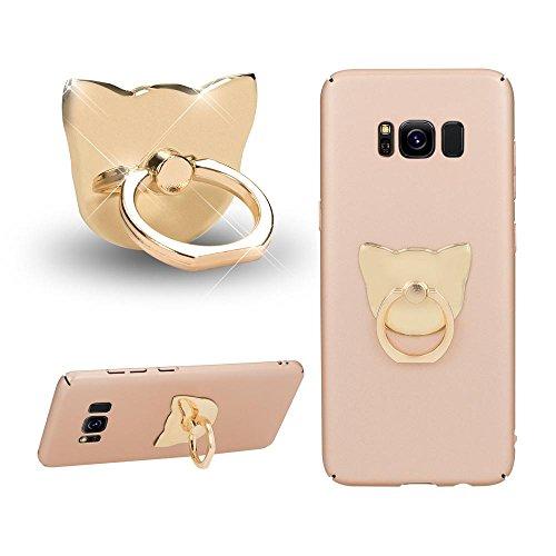NALIA Fingerhalterung Ring-Halter Katze, Verstellbarer Fingergriff für Einhandbedienung Smartphone Universal-Ständer Multi-Winkel, kompatibel mit iPhone, kompatibel mit Samsung, etc, Farbe:Gold
