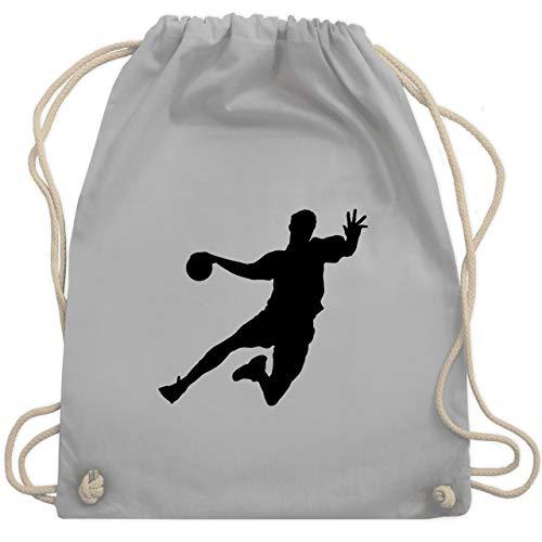 Shirtracer Handball - Handballer - Unisize - Hellgrau - sportbeutel grün - WM110 - Turnbeutel und Stoffbeutel aus Baumwolle