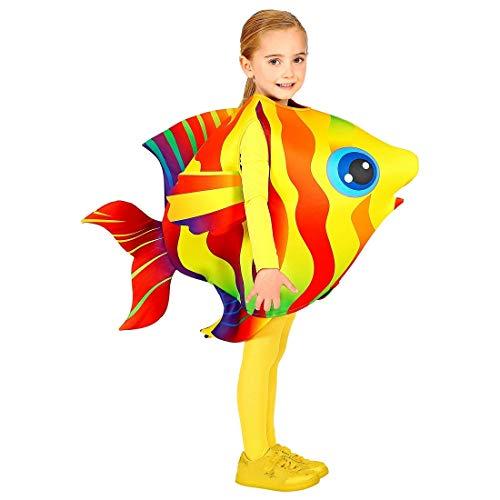NET TOYS Buntes Fisch-Kostüm für Jungen & Mädchen - 116-128cm, 4-7 Jahre - Originelle Kinder-Verkleidung Kleiner Tropenfisch - Perfekt geeignet für Kostümfest & Kinder-Karneval