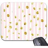 Smity Pink White Dot con Gold Mouse Pad 30 * 25 * 0.3 cm Alfombrilla para ratón Alfombrillas de ratón de Moda Accesorio de Escritorio de Oficina de Moda